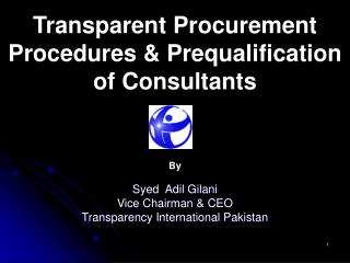 Transparent Procurement Procedures  Prequalification of Consultants
