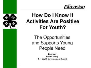 How Do I Know If  Activities Are Positive For Youth