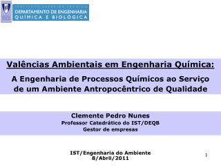 Clemente Pedro Nunes Professor Catedrático do IST/DEQB Gestor de empresas
