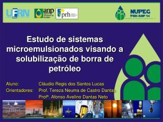 Estudo de sistemas microemulsionados visando a solubilização de borra de petróleo