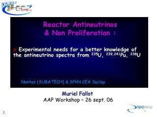 Reactor Antineutrinos  Non Proliferation :