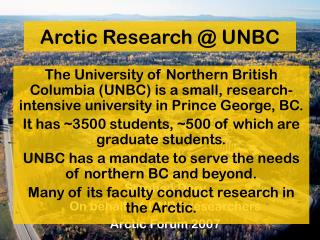 Arctic Research @ UNBC