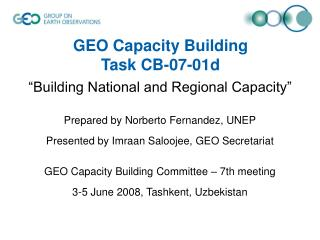 GEO Capacity Building Task CB-07-01d