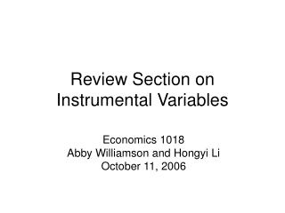 Review Section on Instrumental Variables