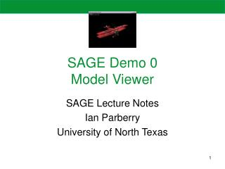SAGE Demo 0 Model Viewer