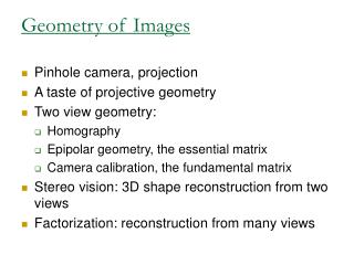Geometry of Images