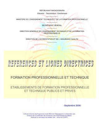Créé par le Service des Programmes et des Réformes Pédagogiques en collaboration avec