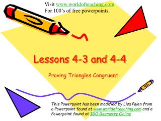 Lessons 4-3 and 4-4