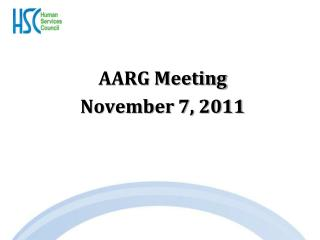 AARG Meeting November 7, 2011