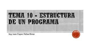 Tema 10 -  Estructura de un programa