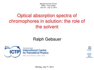 Optical absorption spectra of chromophores in solution: the role of the solvent