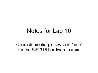 Notes for Lab 10