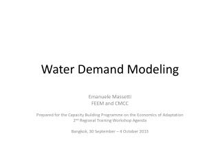 Water Demand Modeling