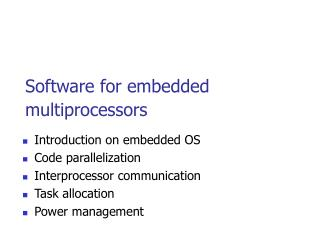 Software for embedded multiprocessors