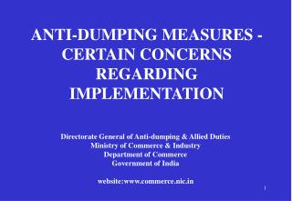 ANTI-DUMPING MEASURES - CERTAIN CONCERNS REGARDING IMPLEMENTATION
