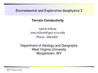 Environmental and Exploration Geophysics I