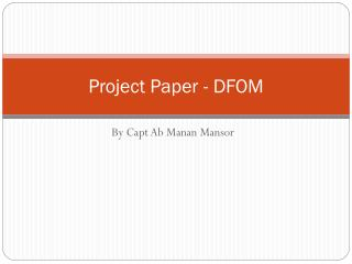 Project Paper - DFOM