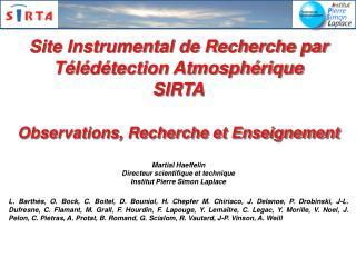 Site Instrumental de Recherche par Télédétection Atmosphérique SIRTA