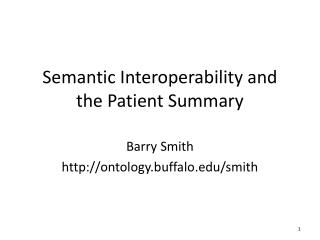 Semantic Interoperability and the Patient Summary