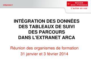 INTÉGRATION DES DONNÉES  DES TABLEAUX DE SUIVI  DES PARCOURS  DANS L'EXTRANET ARCA