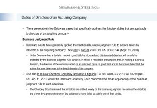 Duties of Directors of an Acquiring Company