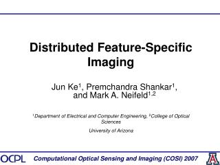 Distributed Feature-Specific Imaging