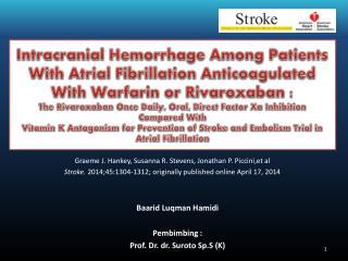 Graeme J. Hankey, Susanna R. Stevens, Jonathan P.  Piccini,et al