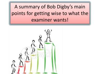 A summary of Bob  Digby's  main points for getting wise to what the examiner wants!