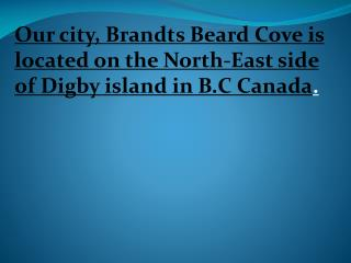 Our city,  Brandts  Beard Cove is located on the North-East side of  Digby  island in B.C Canada .