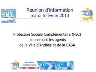 Protection Sociale Complémentaire (PSC)   concernant les agents