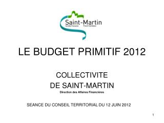LE BUDGET PRIMITIF 2012