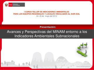 Avances y Perspectivas del MINAM entorno a los Indicadores Ambientales  Subnacionales