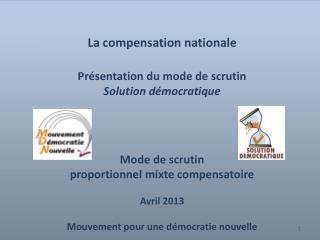 La compensation nationale  Présentation du mode de scrutin Solution démocratique Mode de scrutin