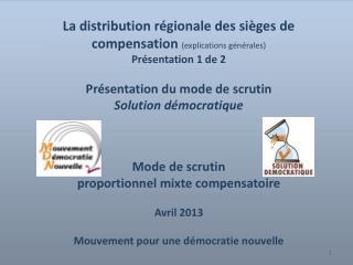 La distribution régionale des sièges de compensation  (explications générales) Présentation 1 de 2