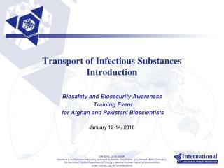 Transport of Infectious Substances Introduction