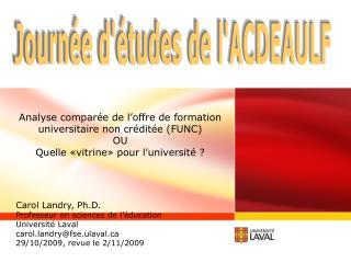 Analyse comparée de l'offre de formation universitaire non créditée (FUNC) OU