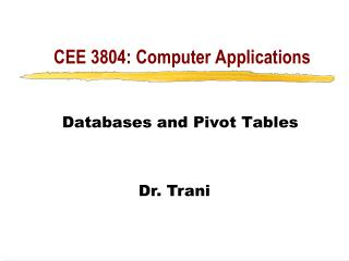 CEE 3804: Computer Applications