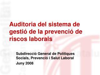 Auditoria del sistema de gestió de la prevenció de riscos laborals