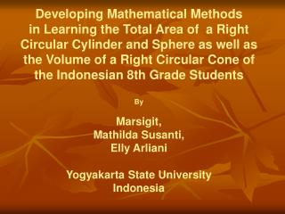 Developing Mathematical Methods