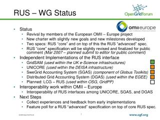RUS – WG Status