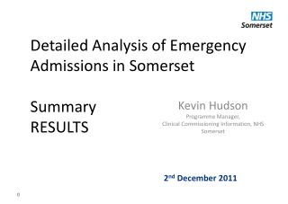 Detailed Analysis of Emergency Admissions in Somerset Summary RESULTS