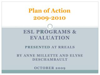 Plan of Action 2009-2010