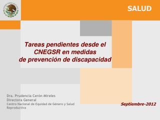 Tareas pendientes desde el  CNEGSR en medidas   de prevención de discapacidad
