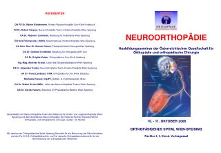 REFERENTEN OA PD Dr. Rainer Biedermann , Kinder-/Neuroorthopädie Univ.Klinik Innsbruck