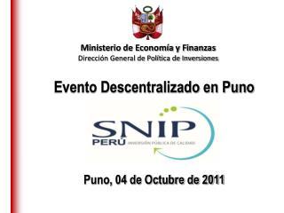 Evento Descentralizado en Puno Puno, 04 de Octubre de 2011