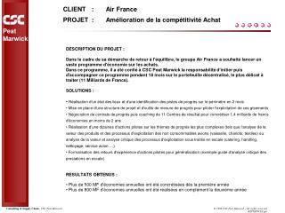 CLIENT:Air France PROJET:Amélioration de la compétitivité Achat