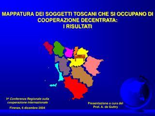 MAPPATURA DEI SOGGETTI TOSCANI CHE SI OCCUPANO DI COOPERAZIONE DECENTRATA:  I RISULTATI