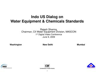 Indo US Dialog on Water Equipment & Chemicals Standards