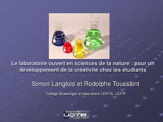 Simon Langlois et Rodolphe Toussaint  Coll�ge Shawinigan et laboratoire LERTIE, UQTR