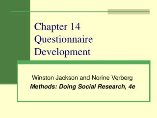 Chapter 14 Questionnaire Development